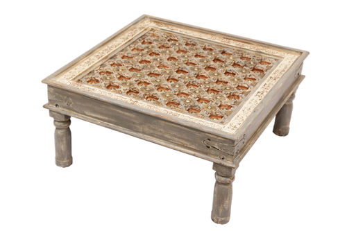MADRAS - TABLE BASSE 90 X 90 GREY / CUB = 0.14 M3